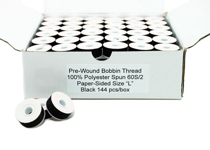 Picture of 144 Black Papersided Bobbins Size L