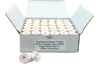 Picture of 144 White Papersided Bobbins Size L